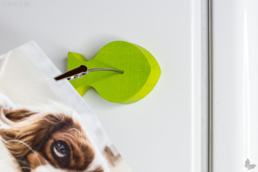 Holz-Fisch-Bilderhalter mit Magnet und Klammer, grün