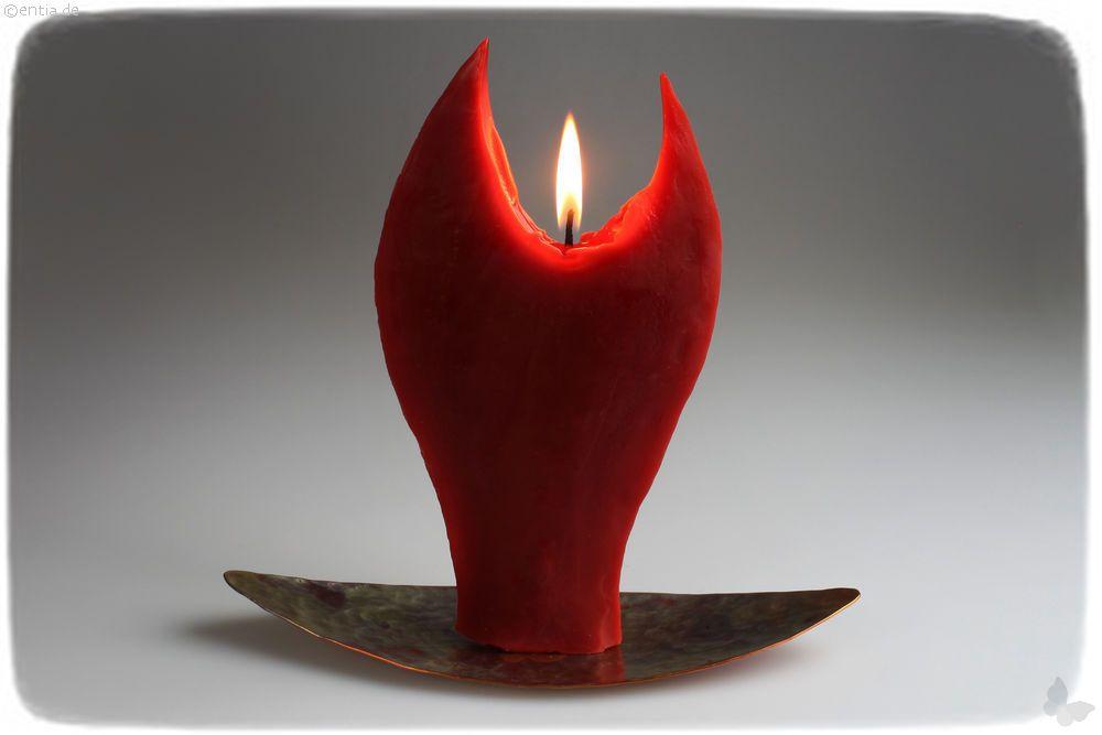 Engelkerze rot mit Kupfer-Halter