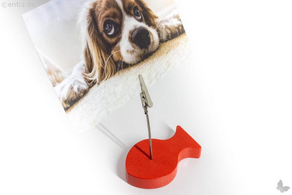 Holz-Fisch-Bilderhalter mit Magnet und Klammer, rot