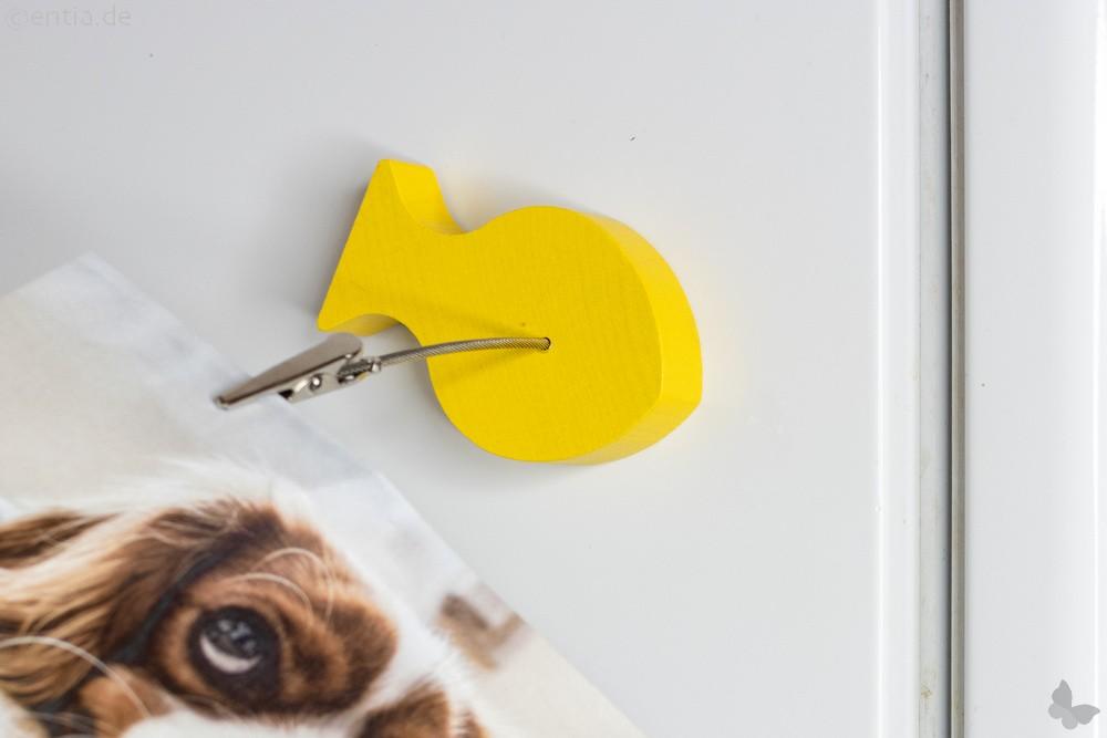 Holz-Fisch-Bilderhalter mit Magnet und Klammer, gelb