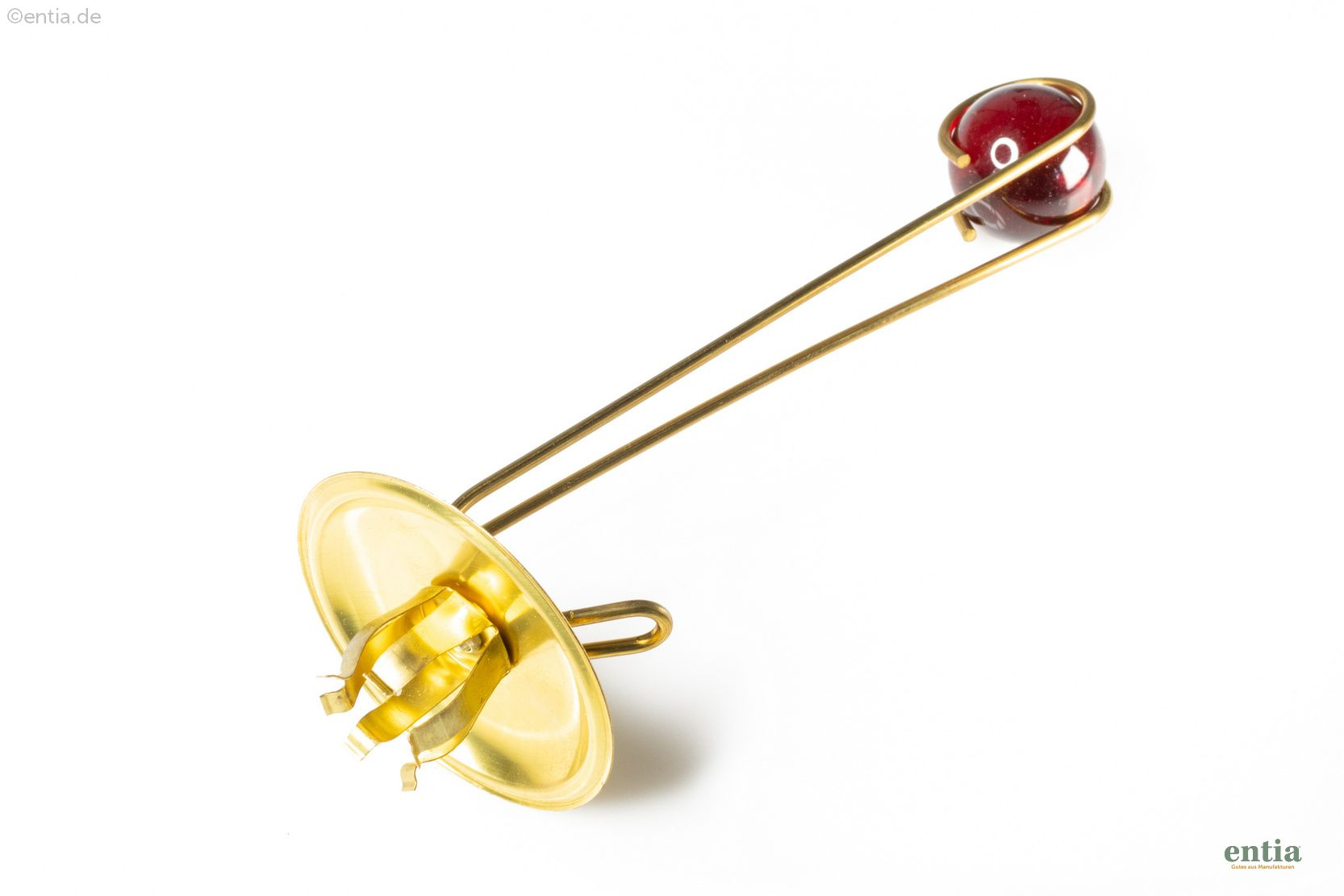 Christbaumkerzenhalter, goldfarben, Kugel rot, 6 St. im Karton