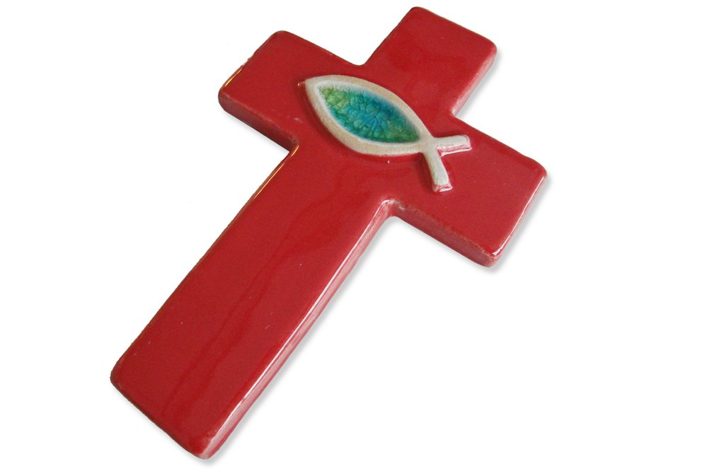 Lateinisches Kreuz mit Fisch, Steinzeugkeramik, rot