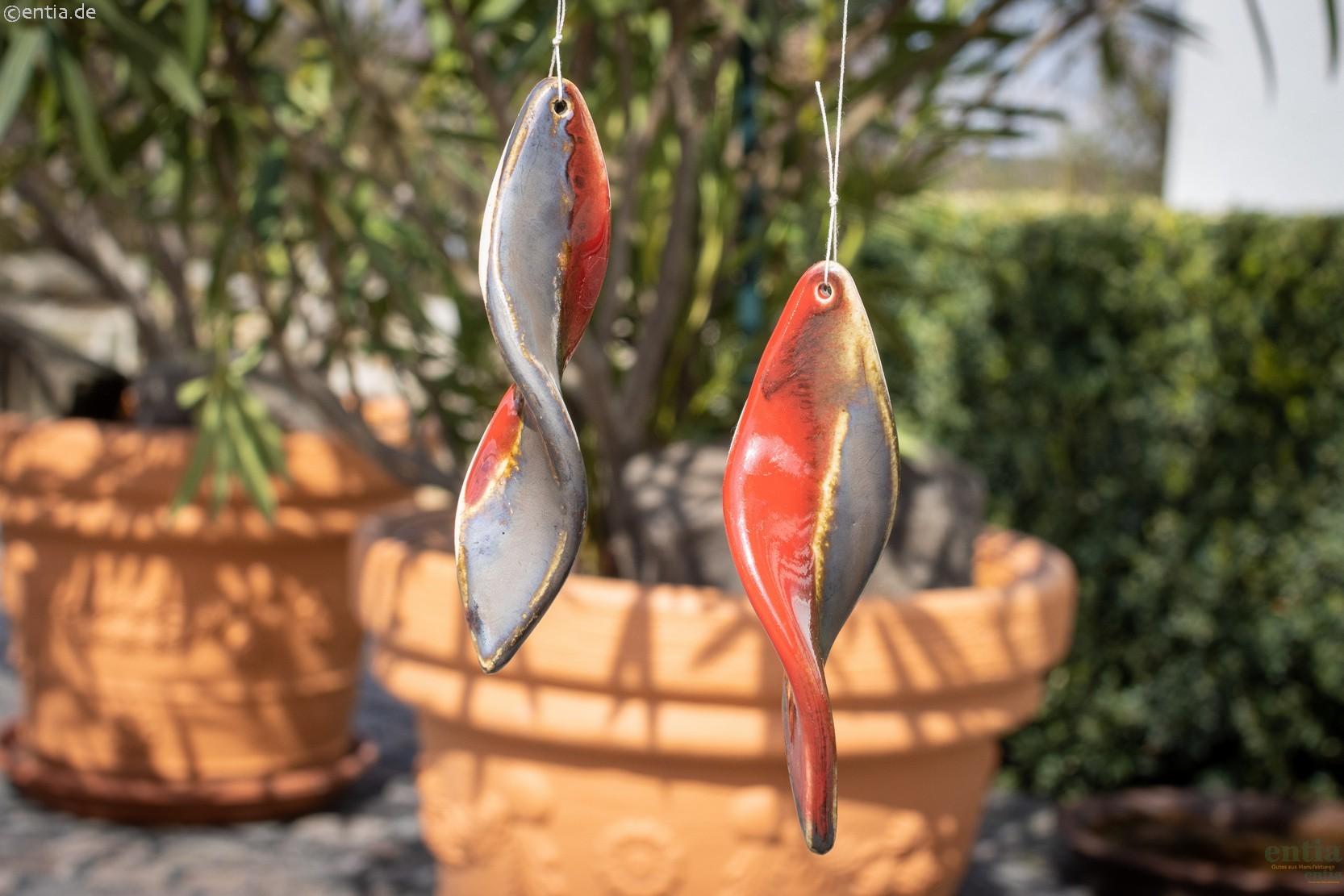 Windspiralen 2er-Set aus Keramik, bronze/rot