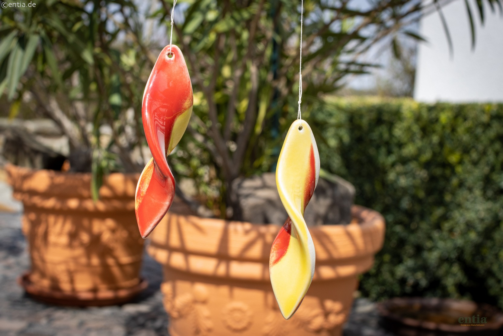 Windspiralen 2er-Set aus Keramik, rot/gelb