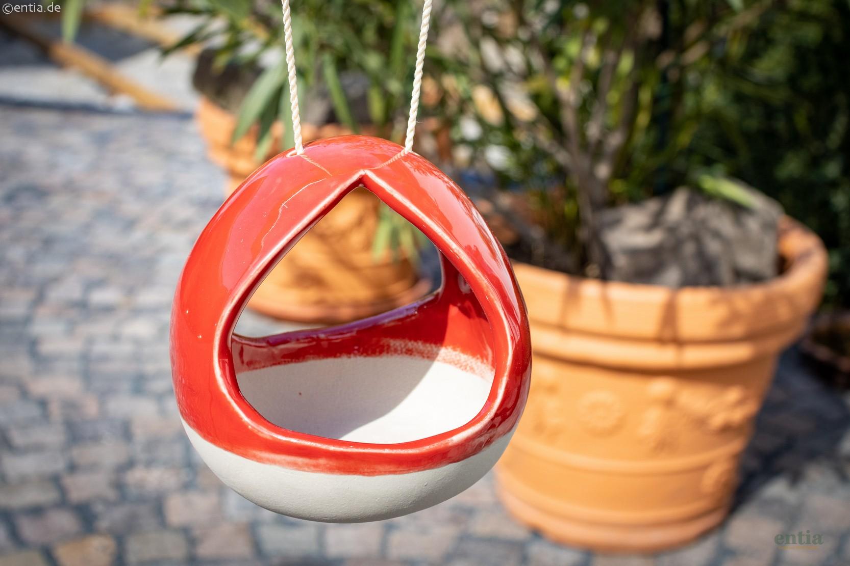 Vogeltränke aus Keramik, rot / natur