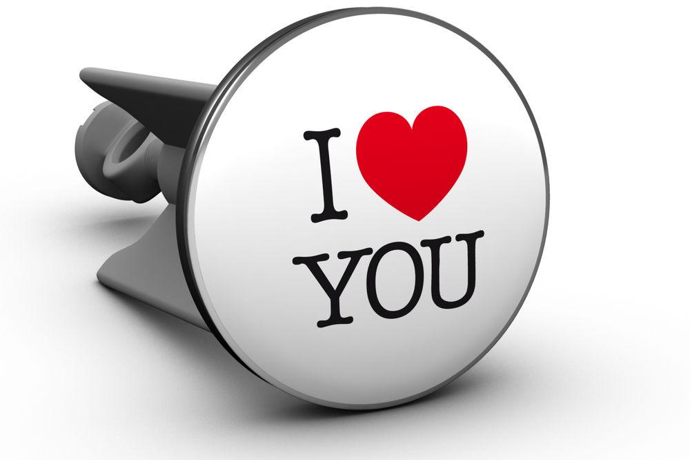 "Waschbeckenstöpsel ""Plopp"" I love you"