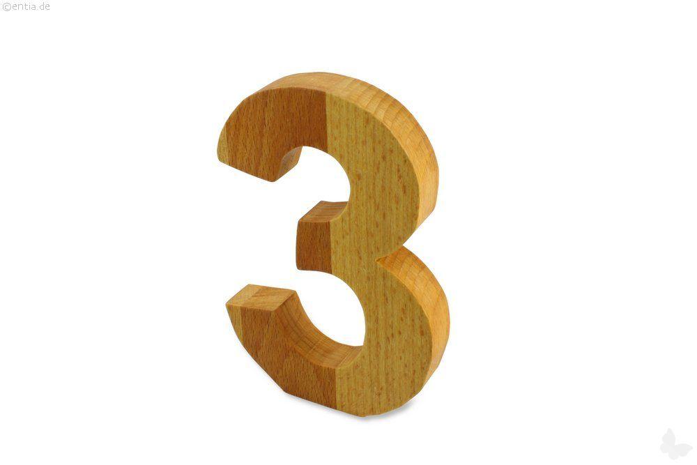 Holz-Ziffer Drei