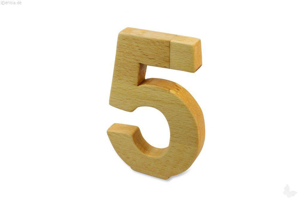 Holz-Ziffer Fünf
