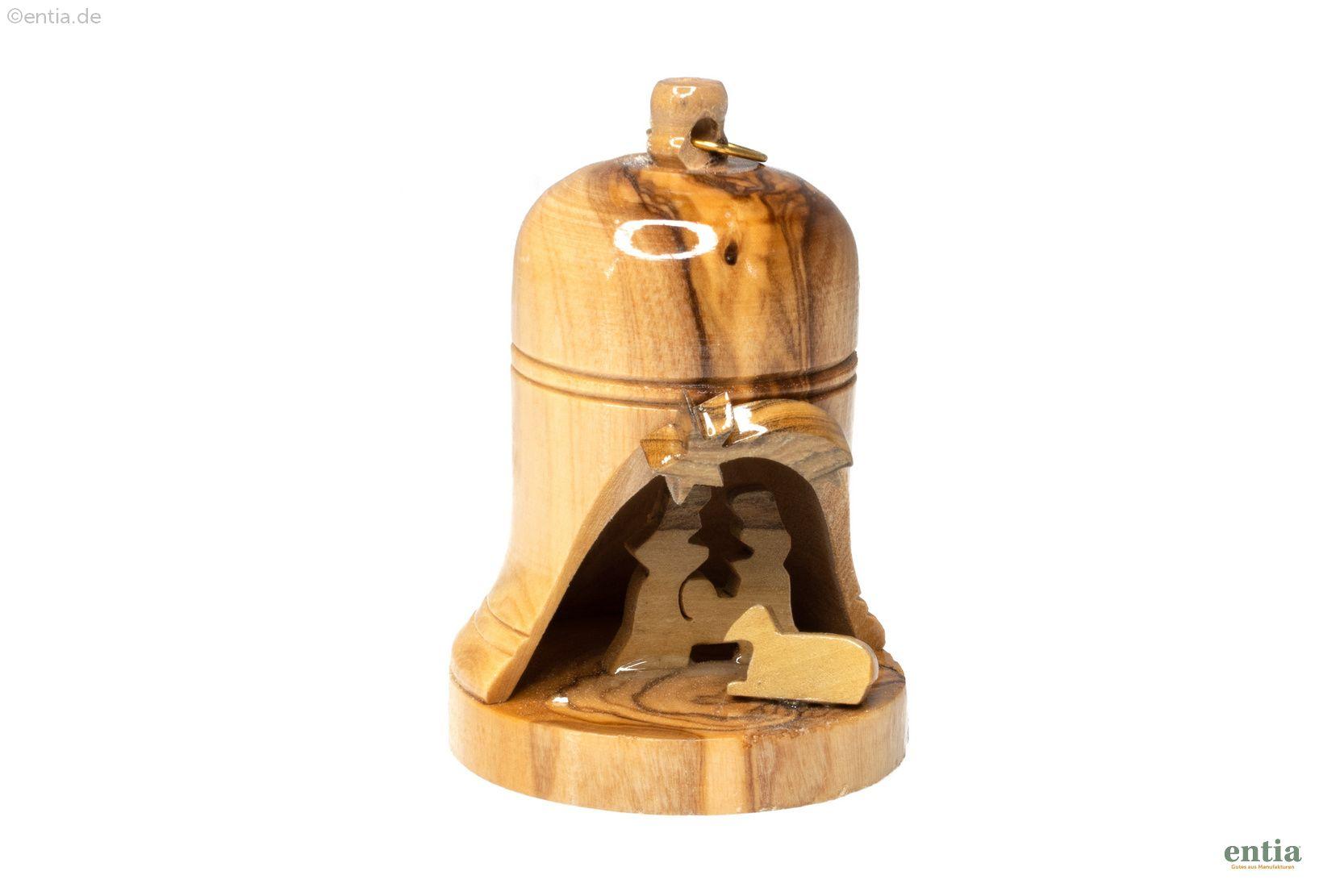 Christbaumschmuck - Krippenmotiv in Glockenform aus Olivenholz