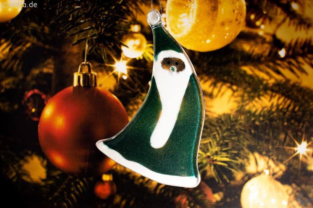 Weihnachtsdeko Nikolaus geschwungen mit grünem Glas