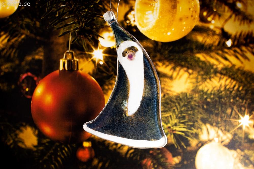Weihnachtsdeko Nikolaus geschwungen mit dunkelblauem Glas