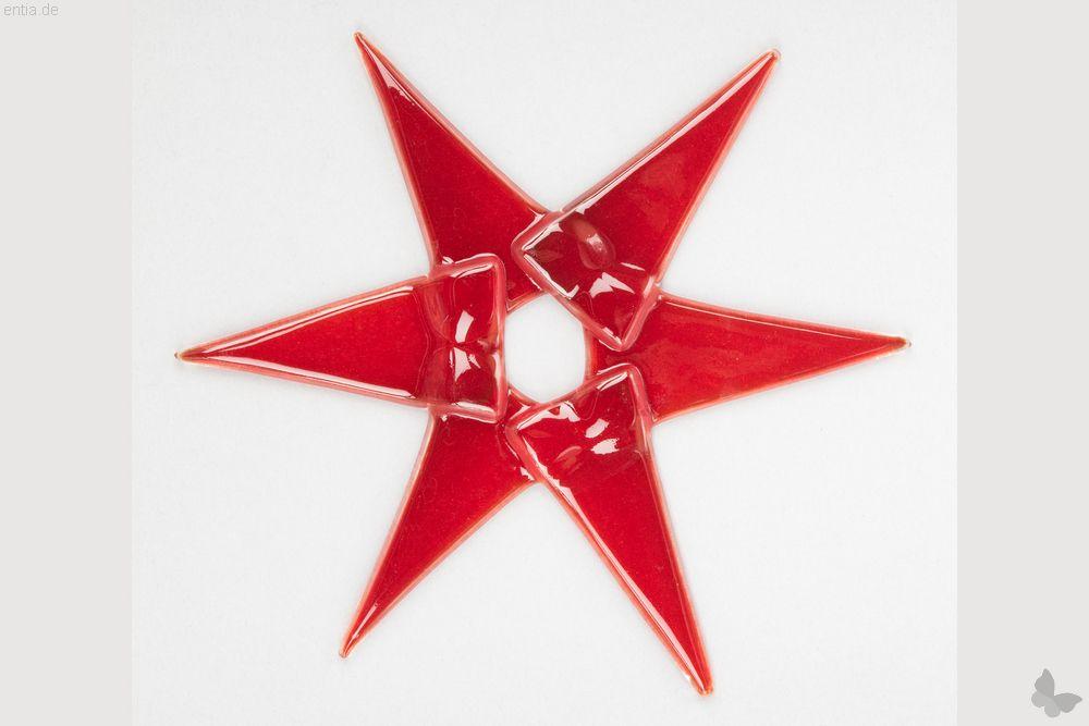 Weihnachtsdeko Stern groß aus rotem Glas
