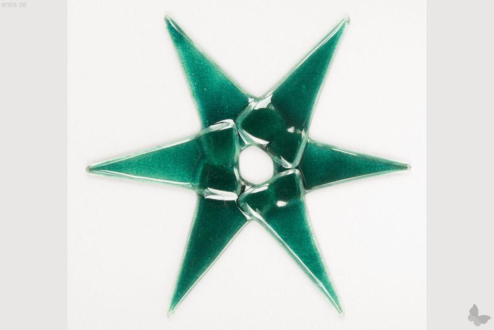 Weihnachtsdeko Stern groß aus grünem Glas