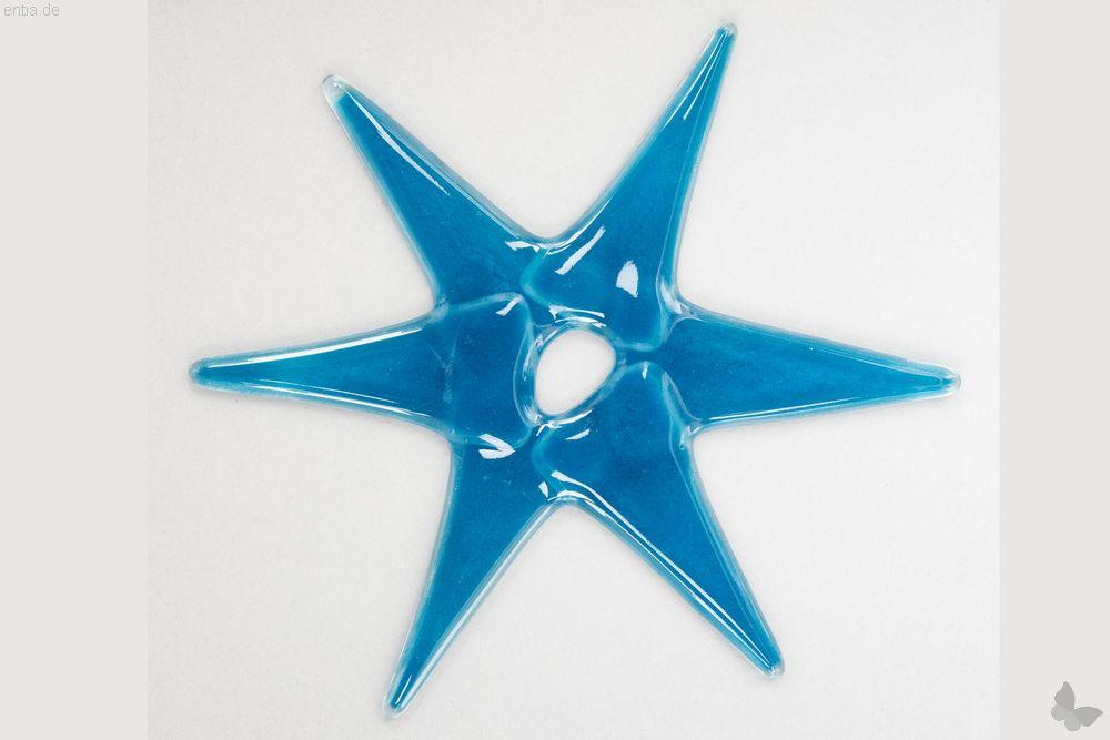 Weihnachtsdeko Stern groß aus hellblauem Glas