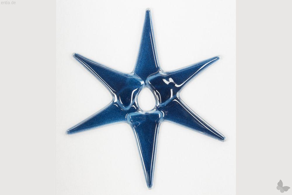 Weihnachtsdeko Stern groß aus dunkelblauem Glas