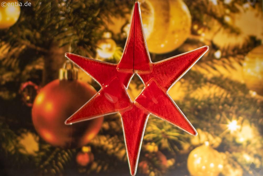 Weihnachtsdeko Stern mittel aus rotem Glas