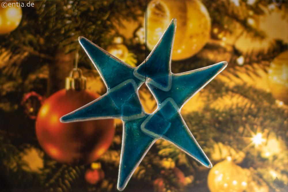 Weihnachtsdeko Stern mittel aus aquamarin Glas