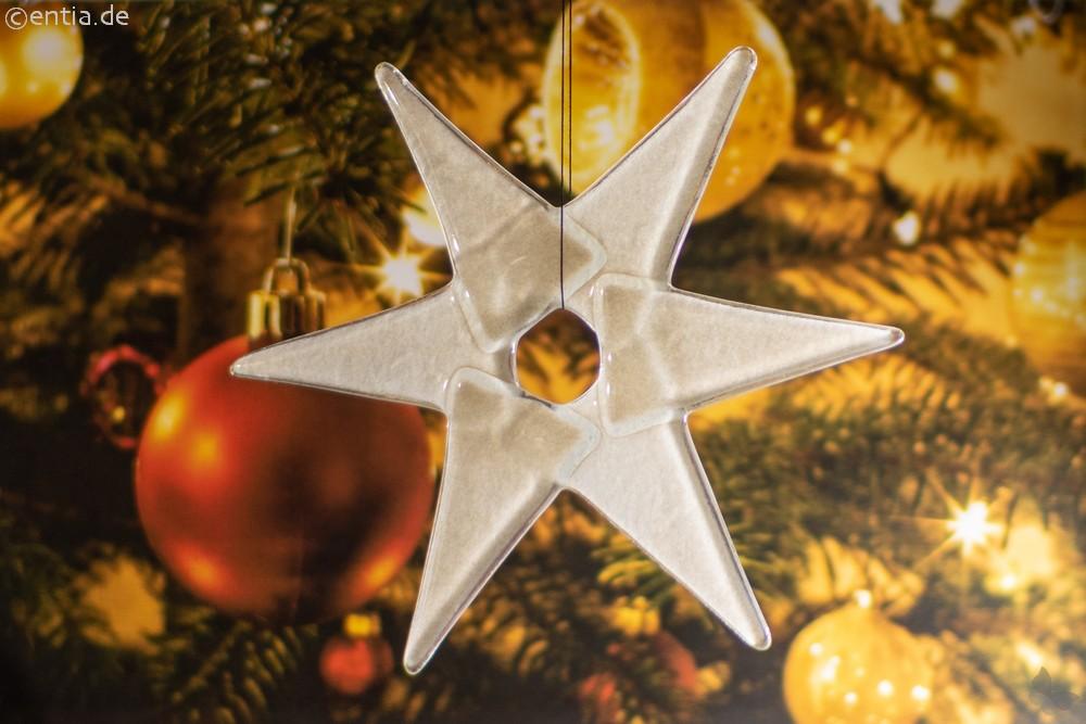 Weihnachtsdeko Stern mittel aus grauem Glas