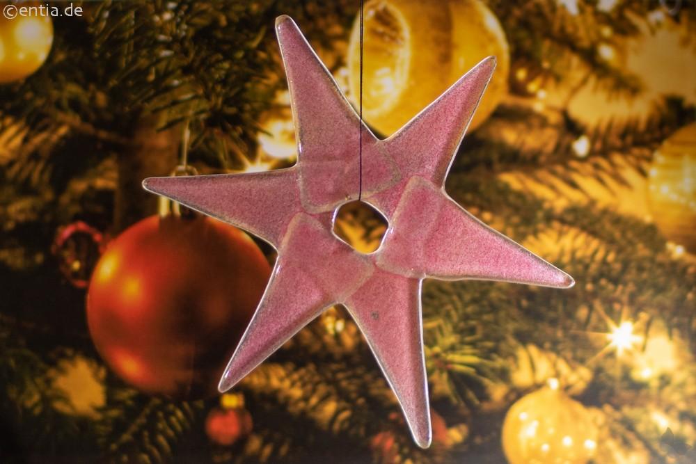 Weihnachtsdeko Stern mittel aus rosa Glas