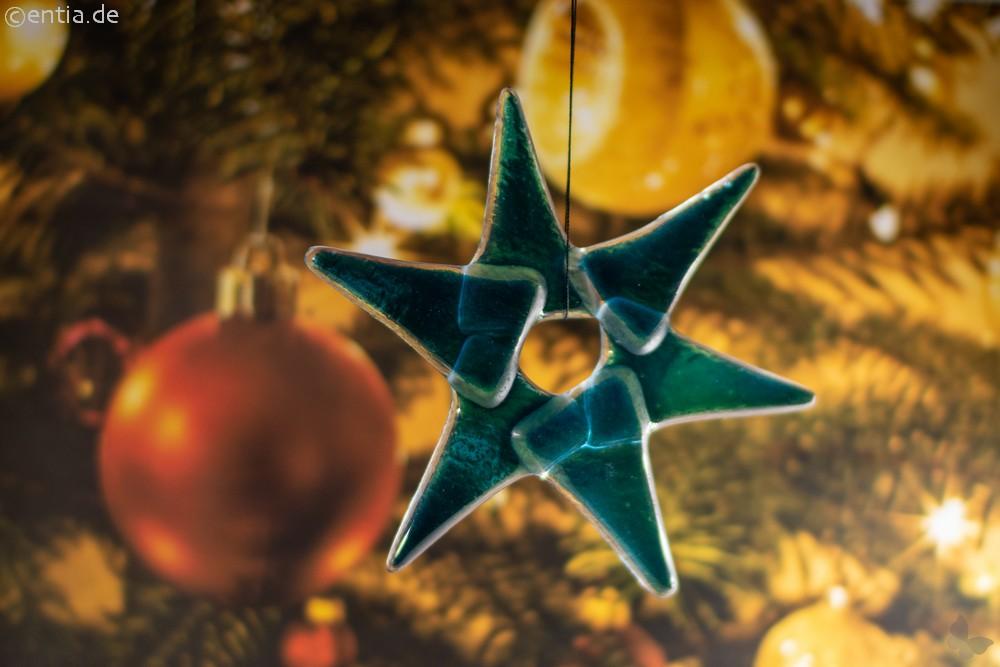 Weihnachtsdeko Stern klein aus aquamarin Glas