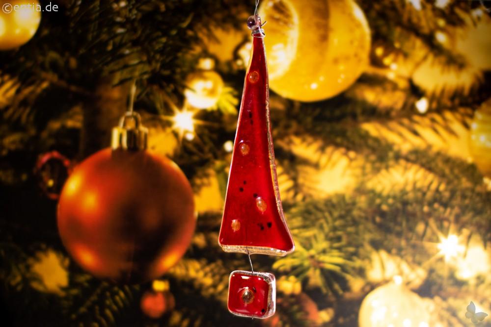 Christbaum-Anhänger Tannenbaum aus rotem Glas