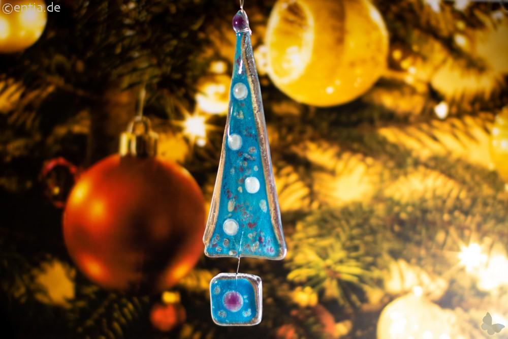 Christbaum-Anhänger Tannenbaum aus hellblauem Glas