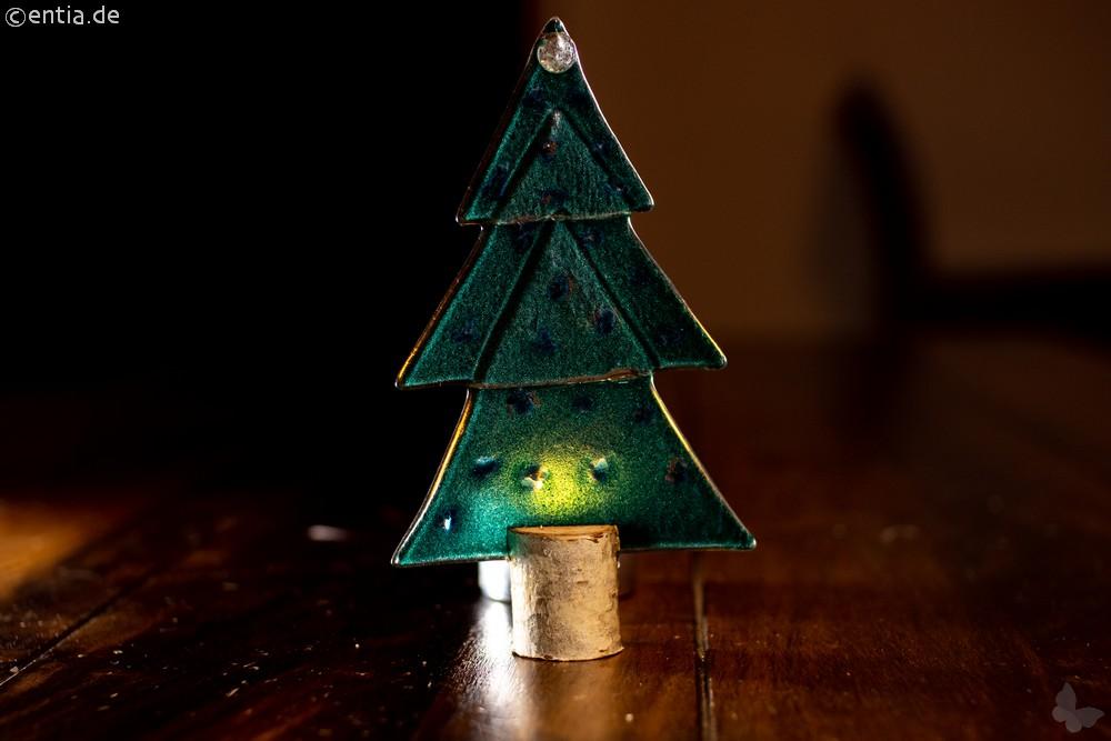 Weihnachtsdeko Kleine Tischtanne aus grünem Glas
