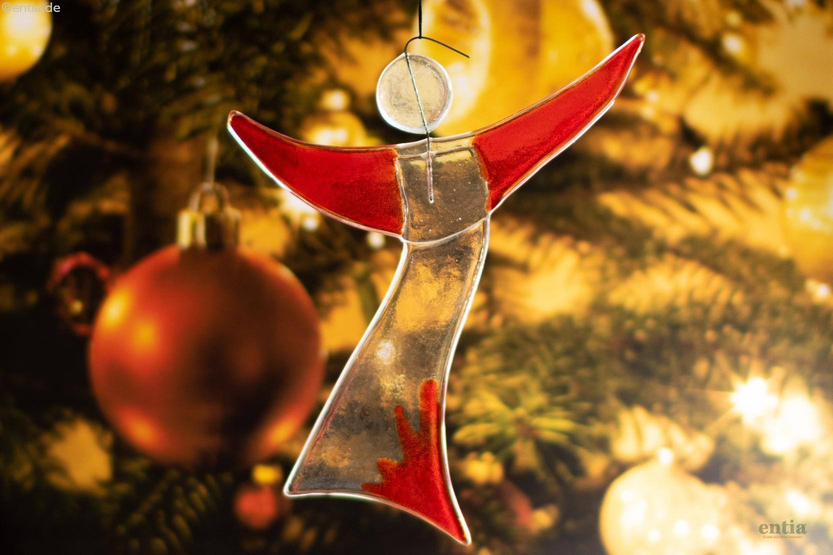 Christbaum- Schmuck Engel aus rotem Glas