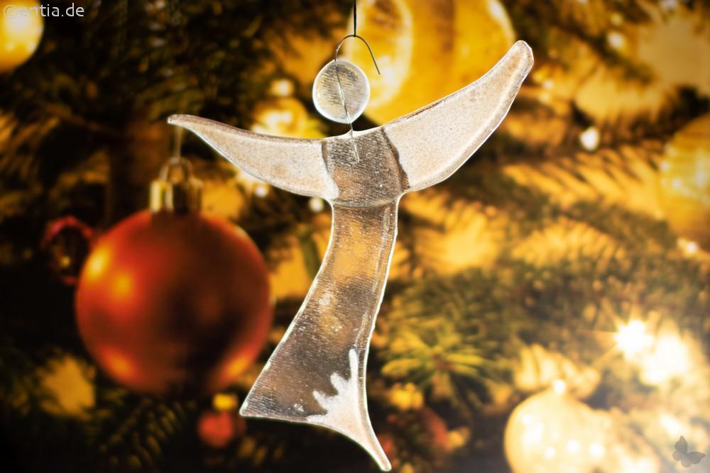 Christbaum-Schmuck Engel aus sandfarbenem Glas