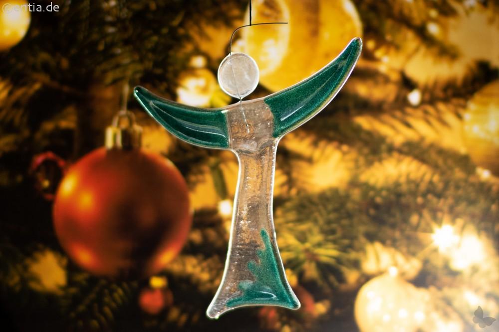 Christbaum-Schmuck Engel aus grünem Glas