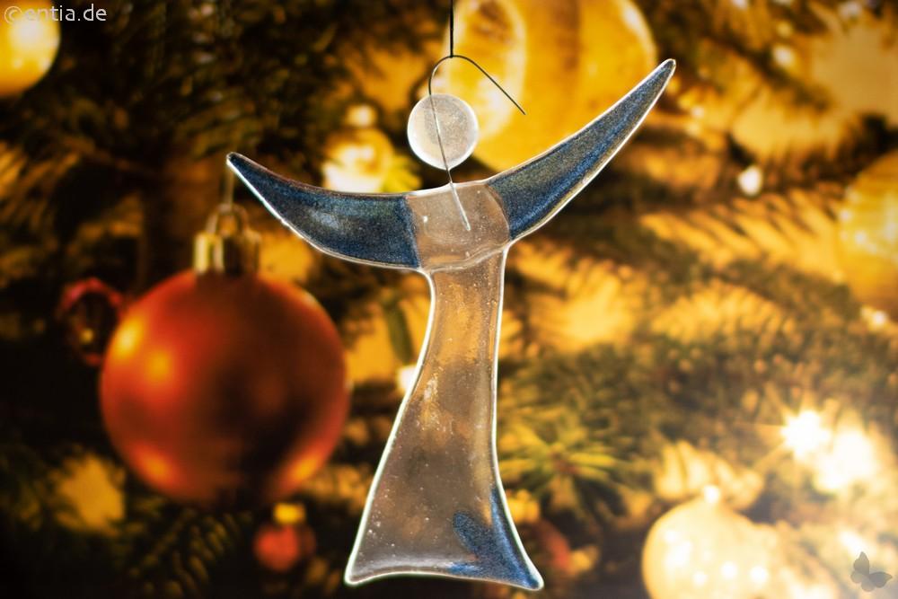 Christbaum-Schmuck Engel aus dunkelblauem Glas