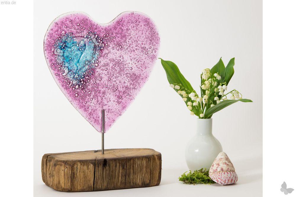 Großes rosa-farbenes Glasherz, Variante 1