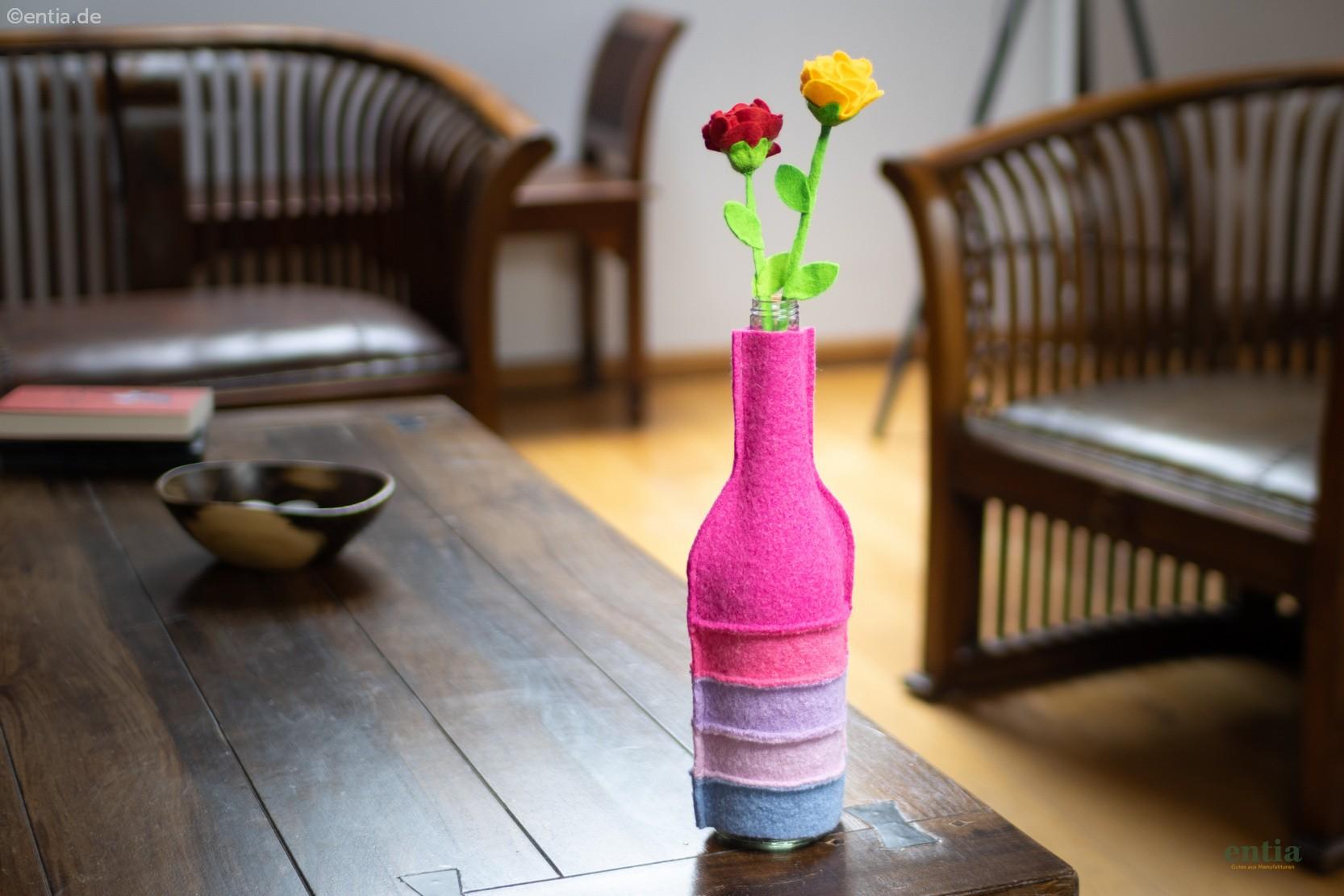 Flaschenkleid aus Walkloden, pink