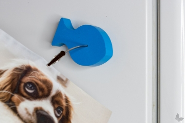 Holz-Fisch-Bilderhalter mit Magnet und Klammer, blau