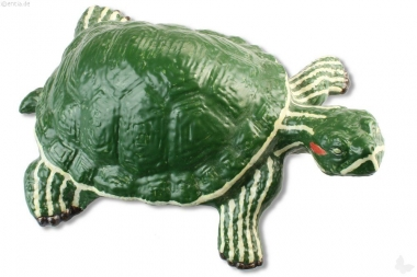 Deko-Schildkröte aus Ton, Rotwange