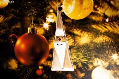 Weihnachtsdeko Nikolaus Glas sandfarben
