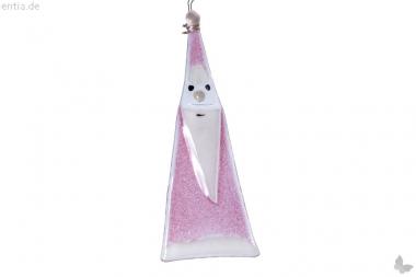 Weihnachtsdeko Nikolaus Glas rosa