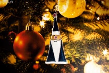 Weihnachtsdeko Nikolaus Glas dunkelblau