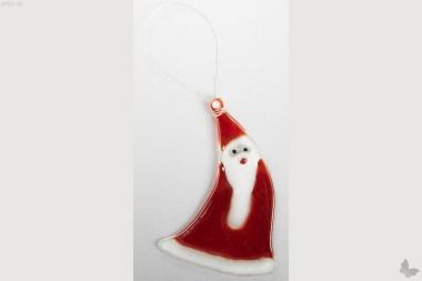 Weihnachtsdeko Nikolaus geschwungen mit rotem Glas
