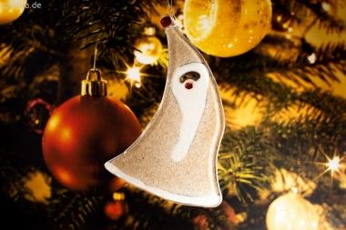 Weihnachtsdeko Nikolaus geschwungen mit sandfarbenem Glas