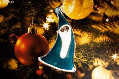Weihnachtsdeko Nikolaus geschwungen mit aquamarin Glas
