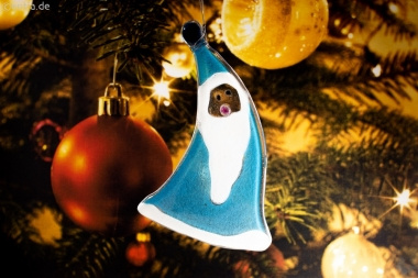 Weihnachtsdeko Nikolaus geschwungen mit hellblauem Glas