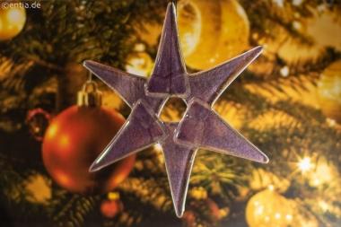 Weihnachtsdeko Stern mittel aus lila Glas