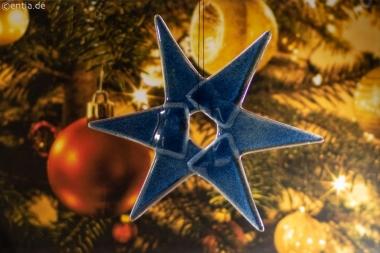 Weihnachtsdeko Stern mittel aus dunkelblauem Glas