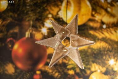 Weihnachtsdeko Stern klein aus sandfarbenem Glas