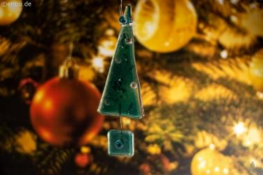 Christbaum-Anhänger Tannenbaum aus grünem Glas
