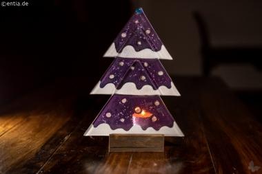 Weihnachtsdeko Tischtanne aus lila Glas