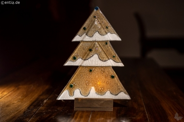 Weihnachtsdeko Tischtanne aus sandfarbenem Glas