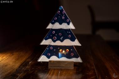 Weihnachtsdeko Tischtanne aus dunkelblauem Glas
