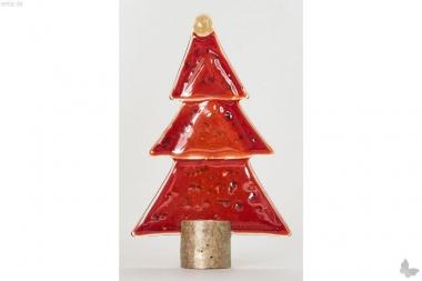 Weihnachtsdeko Kleine Tischtanne aus rotem Glas
